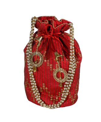 Light Weight Embroidered Potli Pouch Red (Single Bag)