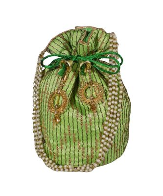 Light Weight Embroidered Potli Pouch Parrot Green (Single Bag)