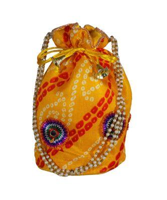 Light Weight Rajasthani Leheriya Potli Pouch Yellow, Cotton Fabric (Single Bag)