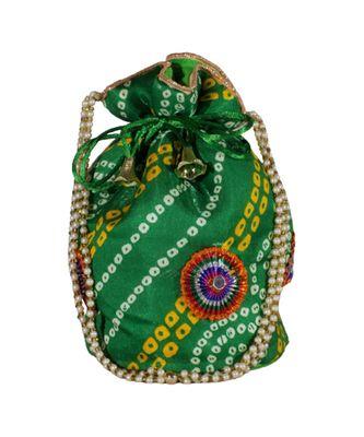 Light Weight Rajasthani Leheriya Potli Pouch Green, Cotton Fabric (Single Bag)