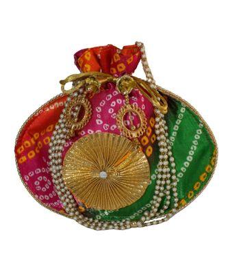 Beautiful Leheriya Print Rajasthani Clutch Bag for Women, Cotton Fabric (Multicolor)