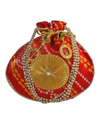 Beautiful Leheriya Print Rajasthani Clutch Bag for Women, Cotton Fabric (Red)