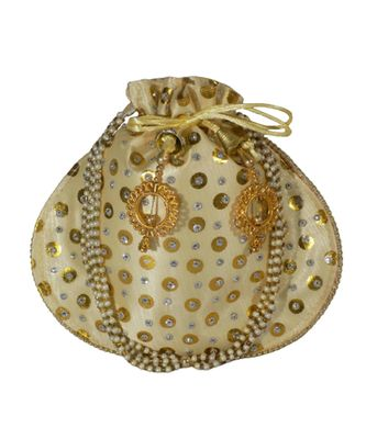 Beautiful Light Weight Potli Style Clutch Bag with Dotted Pattern For Women (Golden)