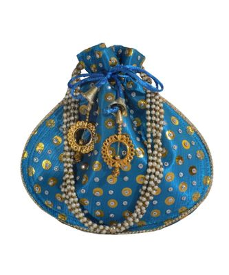 Beautiful Light Weight Potli Style Clutch Bag with Dotted Pattern For Women (Ferozi)