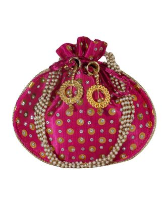 Beautiful Light Weight Potli Style Clutch Bag with Dotted Pattern For Women (Magenta)