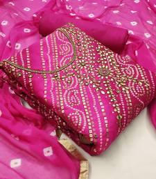Pink bandhej jacquard salwar