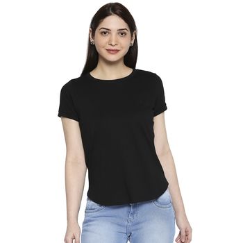 Black Solid Casual Top/Tees for Women in Cotton Fabric with Short Sleeves