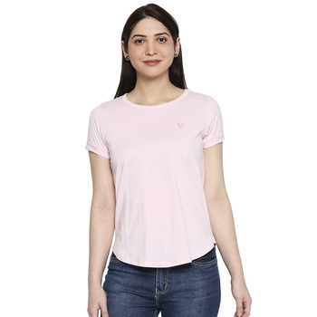 Baby Pink Plain Solid Casual Top/Tees for Women in Cotton Fabric with Short Sleeves