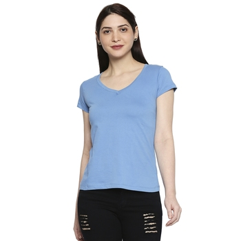 Blue Solid Casual Top/Tees for Women in Cotton Fabric with Short Sleeves