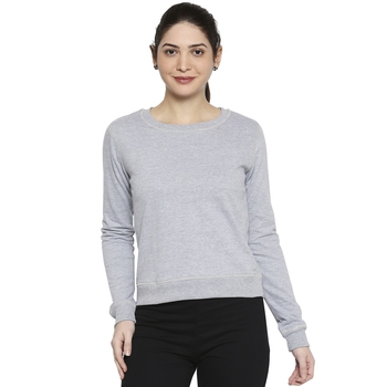 Blue Solid Plain Casual Top/Tees for Women in Cotton Fabric with Full Sleeves