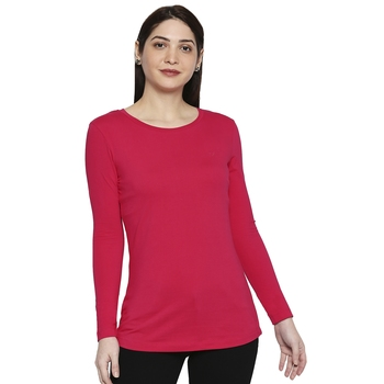 Pink Solid Plain Casual Top/Tees for Women in Cotton Fabric with Full Sleeves