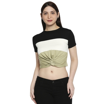 Black White & Green Striped  Pattern Casual Crop Top for Women in Rayon Fabric with Short Sleeves
