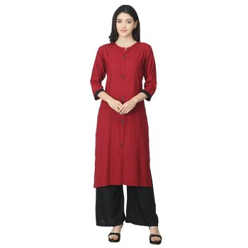 Maroon plain cotton cotton-kurtis