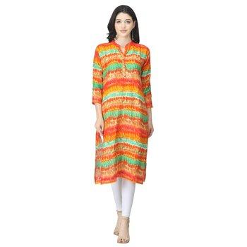 Orange printed cotton cotton-kurtis