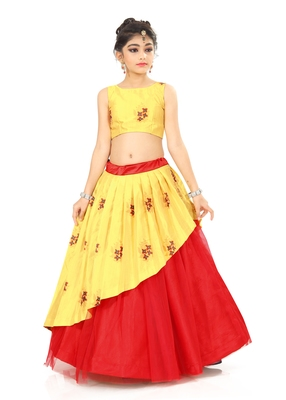 Kids Yellow Lehenga Choli For Girls