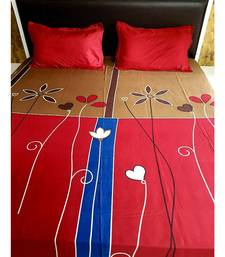 Sanwariya Handstitched 250TC Cotton Fitted SuperKing Size Bedsheet With 2 Pillow Covers