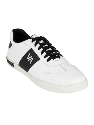 Vardhra Men's White Synthetic Leather Outdoor Daily Casual Sneaker Shoes
