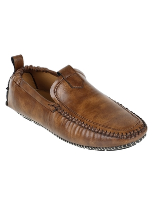 Vardhra Men's Brown Synthetic Leather Outdoor Slip On Casual Loafer