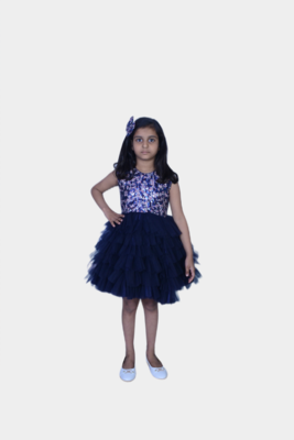 Sequence party wear with hair clip-Blue