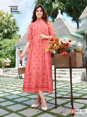 Peach printed rayon long-kurtis