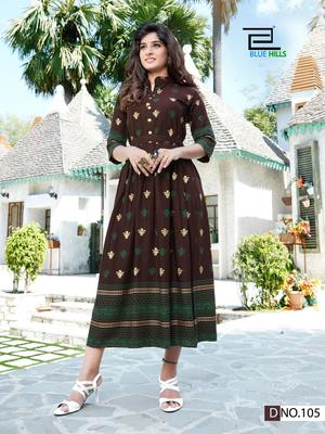 Brown printed rayon long-kurtis