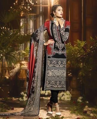 Black geometric print cotton silk salwar