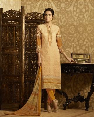 Mustard embroidered cotton salwar