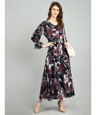 Multi Rayon Printed Full Sleeve V Neck Casual Dress