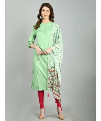 Green Cotton Printed 3/4 Sleeve Mandarin Neck Casual Kurta Dupatta  Set