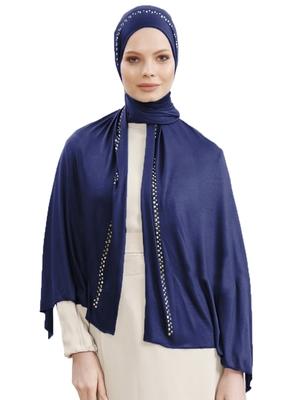 JSDC Navy Blue Color Women Hosiery Diamond Stone Work Scarf Hijab