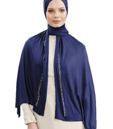 JSDC Navy Blue Color Women Hosiery Diamond Stone Work Scarf Hijab