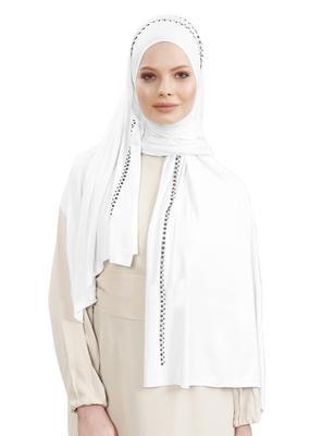 JSDC Festive Wear Hosiery Diamond Stone Work Women Hijab Scarf