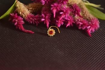 Designer Golden RED Diamond Floral nose ring or Nose Pin