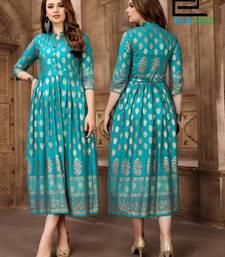 Turquoise printed rayon long-kurtis