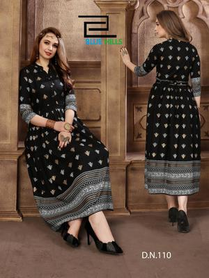 Black printed rayon long-kurtis
