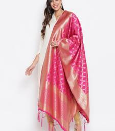 Rani Pink Banarasi Silk Jacquard Woven Dupatta