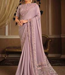 Onion Pink Color Resham Zari And Ribbon Embroidery Silk Georgette Party Wear Saree With Blouse Piece