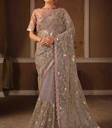 Greyish Pink Color Resham Zari  Cord And Sequins Embroidery Net Party Wear Saree With Blouse Piece