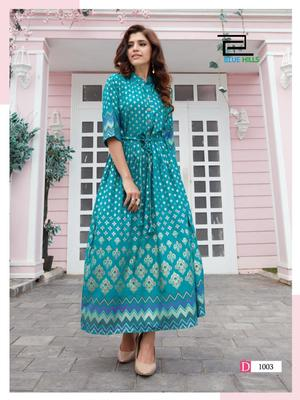 Light-blue printed rayon long-kurtis