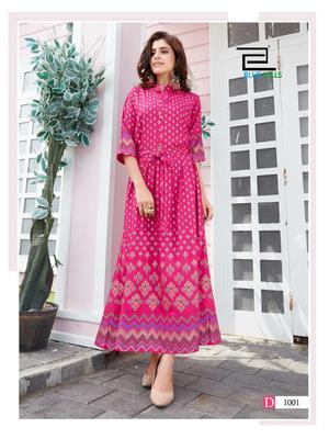 Hot-pink printed rayon long-kurtis