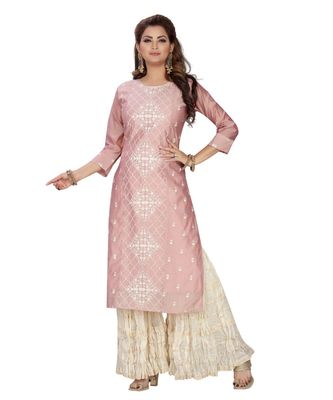 PEACH COLOR CHANDERI STRAIGHT KURTA SET WITH MAL COTTON GARARA top