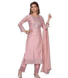 PINK COLOR CHANDERI DRESS