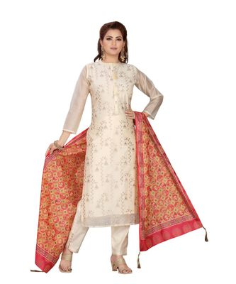 CREAM COLOR CHANDERI STRAIGHT PANT SET WITH PRITED DUPATTA