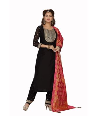 BLACK COLOR STRAIGHT PANT DRESS WITH PRINTED DUPATTA