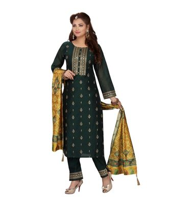 DARK GREEN COLOR STRAIGHT PANT SET WITH PRINTED DUPATTA