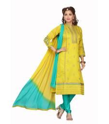 GREEN COLOR CHANDERI STRAIGHT DRESS