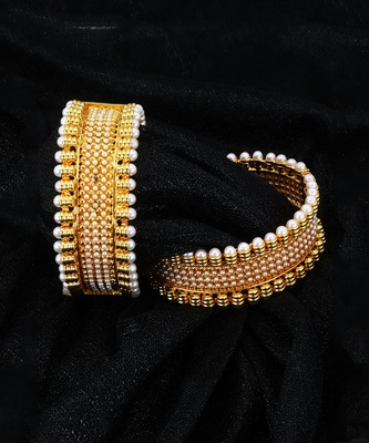 Gold Plated copper base Pearl bangles