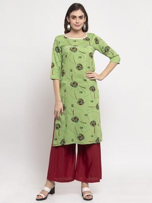 Green printed rayon combo-kurtis