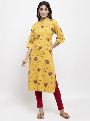 Yellow printed rayon combo-kurtis