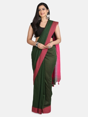 Bottle Green Plain Work Khadi Cotton Handloom Saree With Blouse